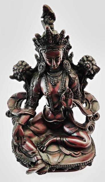 Grüne Tara Statue aus Kunstharz