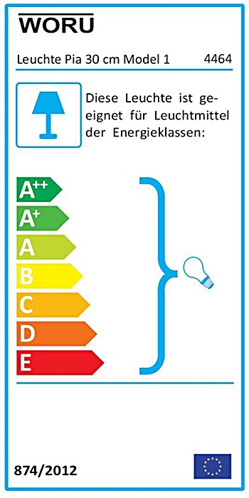 Energielabel Leuchte Pia rund