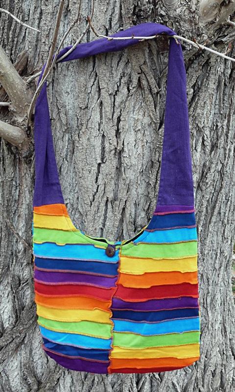 Ribbed Shoulder Bag, Schultertasche mit Streifen