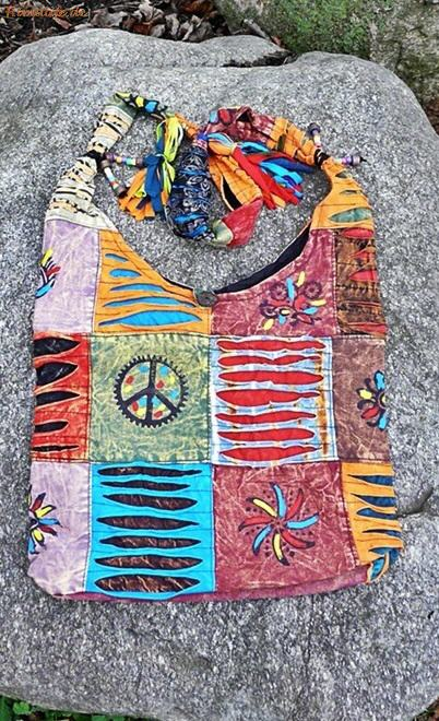 Tantra Patch Bag, Patchwork Schultertasche