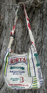 Recycle Jute Bag, Schultertasche aus Reissäcken