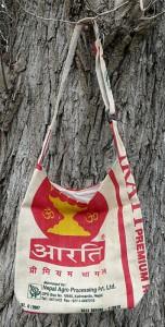 Recycle Jute Bag, Schultertasche aus recycelten Jutesäcken