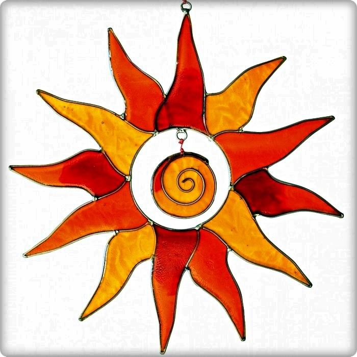 Suncatcher Sonne mit Spirale orange/rot