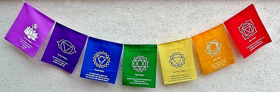 Gebetsfahne sieben Chakren mit Mantra