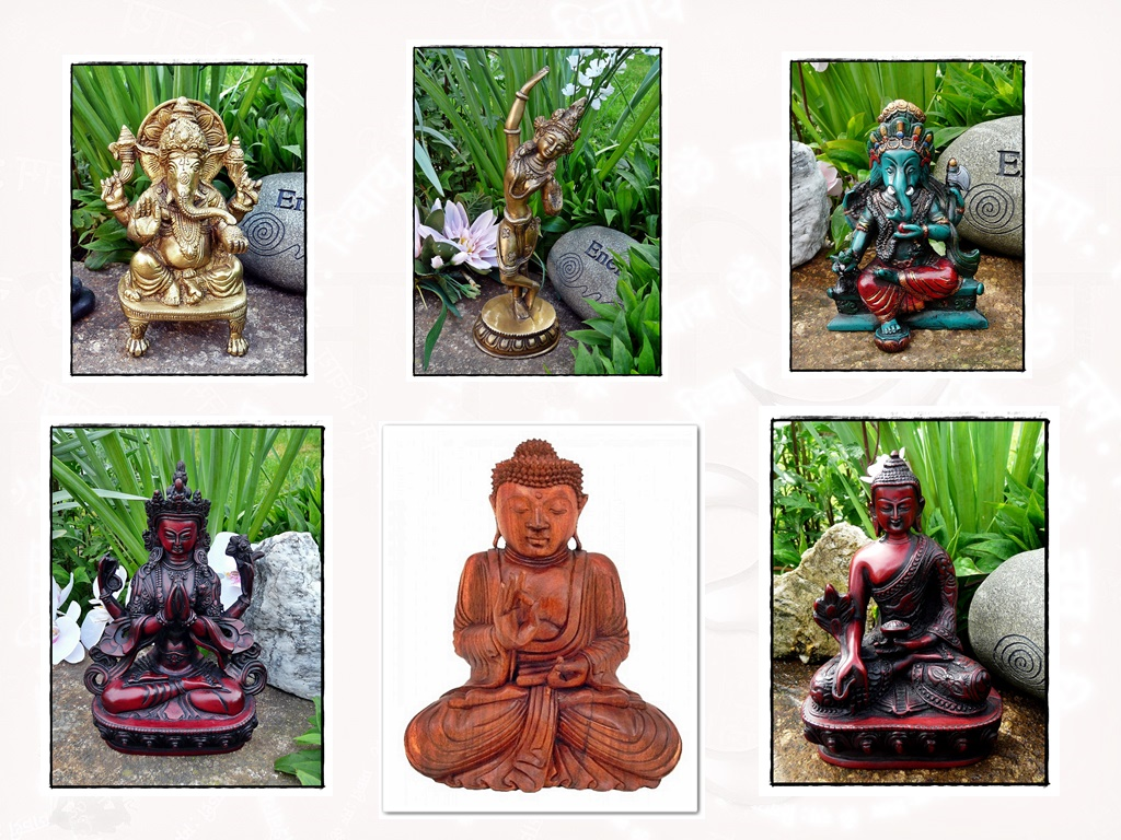 Buddhistische und hinduistische Statuen