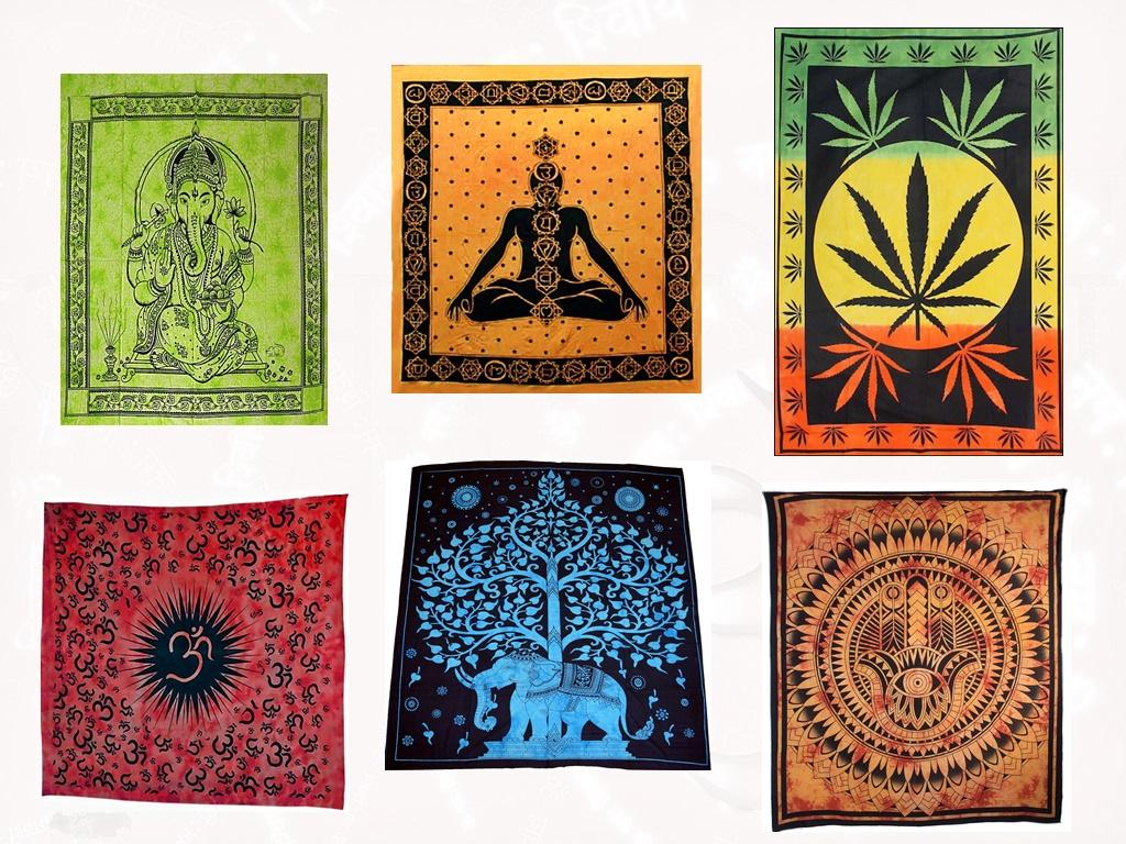 Wandbehänge mit verschiedenen Motiven