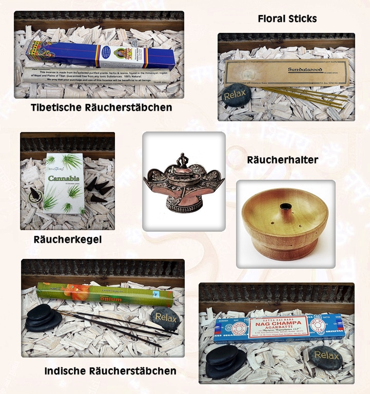 Räucherwerk, Räucherstäbchen, Kerzen und Halter