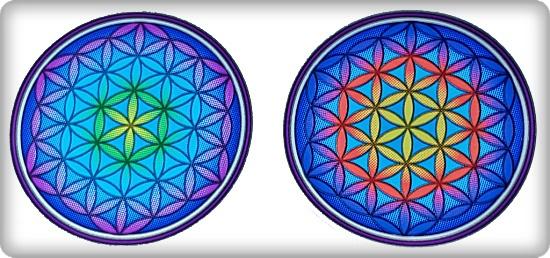 Fensterbilder 2 Stück Blume des Lebens, bunt
