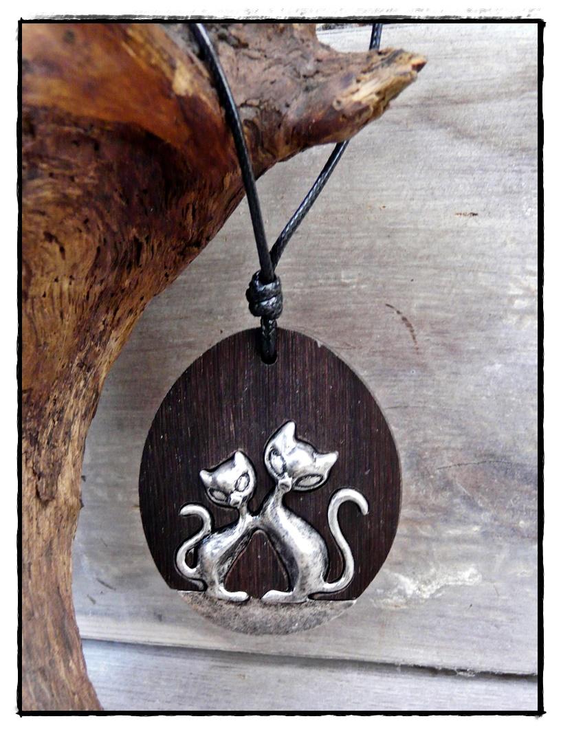 Holz-Anhänger Cats mit zwei Katzen