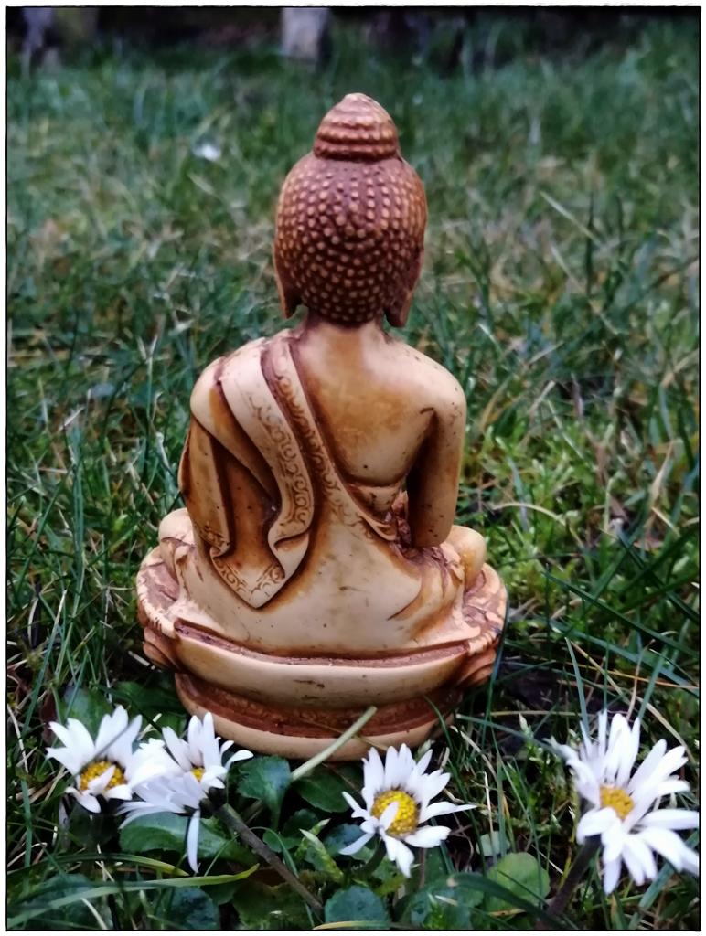 Buddha Figur im Gras