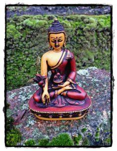 Medizin Buddha Statue, handbemalt