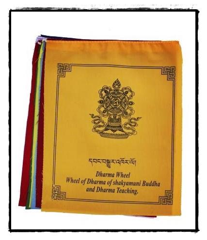 Gebetsfahne mit acht buddhistischen Glückssymbolen