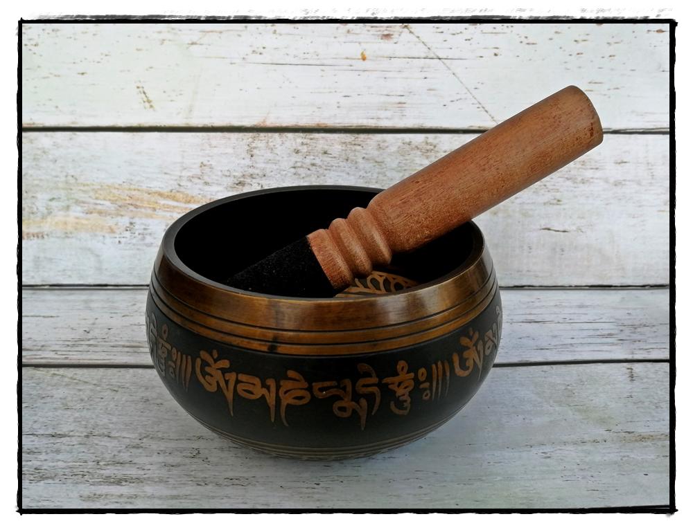 Messing Klangschale mit Symbol Doppel-Dorje