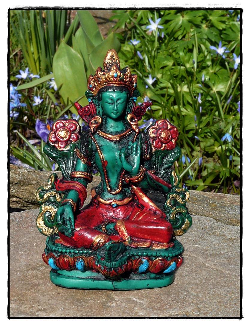 Kleine grüne Tara-Statue