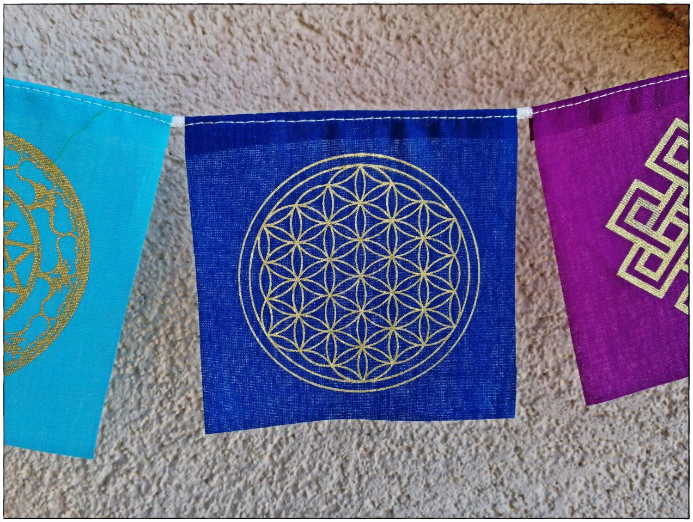 Gebetsfahne Symbole der heiligen Geometrie