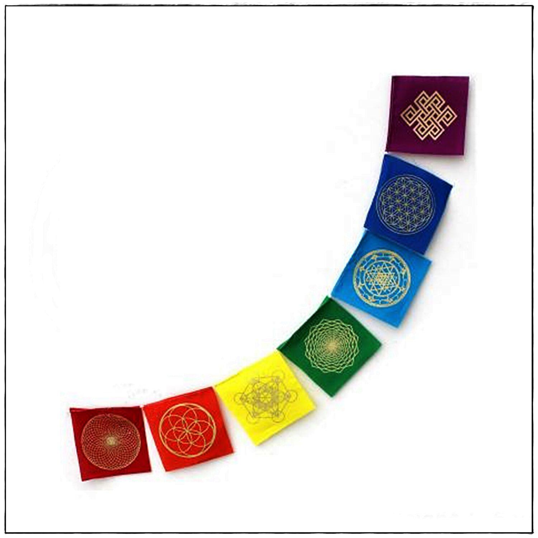 Mini-Gebetsfahne Symbole der heiligen Geometrie